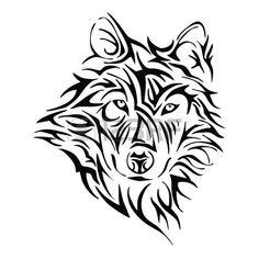 Wolfskopf Tattoo Stamm Vektor Lizenzfreie Bilder