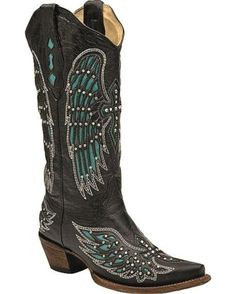 Corral Black-Turquoise Wing & Cross With Studs & Crystals Cowgirl Boot   http://www.countryoutfitter.com/products/31009-womens-black-turquoise-wing-and-cross-with-studs-and-crystals-a1048