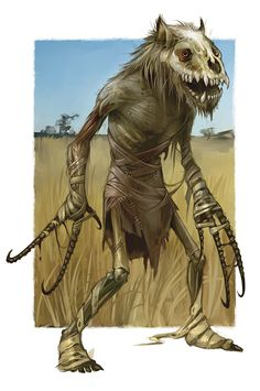 The Sémé is a small hominid, reported from Northern Gabon. Dark red or yellow. Long head-hair down to its waist. No tail. Said to herd wild forest hogs. Found with wild boar tracks. Fantasy Races, Fantasy Rpg, Fantasy World, Mythological Creatures, Fantasy Creatures, Mythical Creatures, Medieval, Character Portraits, Monsters