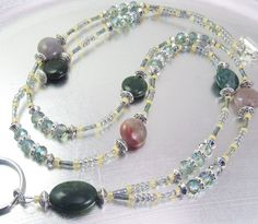 Fancy Jasper and Green Aurora Borealis Crystal Glass Beaded ID Lanyard, Badge Holder, ID Necklace by mmojewelry on Etsy