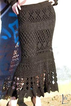 Fabulous Crochet a Little Black Crochet Dress Ideas. Georgeous Crochet a Little Black Crochet Dress Ideas. Crochet Skirt Pattern, Crochet Skirts, Knit Skirt, Crochet Clothes, Crochet Patterns, Skirt Patterns, Tutorial Crochet, Mesh Skirt, Skirt Tutorial