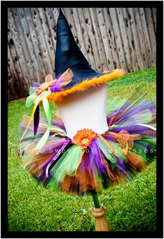 Traditional Witch Halloween Tutu SET: Tutu & witch hat - Customize child's tutu costume size