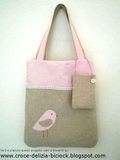 Shopper e portacellulare con uccellino (Chiara Elena)