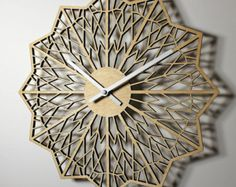 "Laser Cut WALL CLOCK Contemporary 12"" Birch Wood"