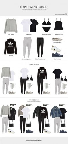 Loungewear capsule: the essentials.You can find Minimalist wardrobe and more on our website.Loungewear capsule: the essentials. Lounge Outfit, Lounge Wear, Look Fashion, Trendy Fashion, Fashion Outfits, Womens Fashion, Fashion Basics, Travel Outfits, Trendy Style