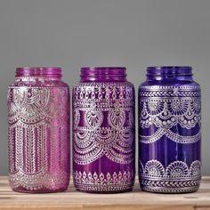 Bemalte Einmachglas Vase marokkanische Home Decor