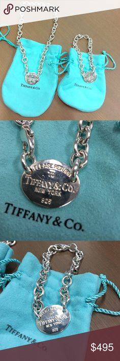 Tiffany oval Choke necklace and bracelet set Like new, just cleaned and polished. Comes with Tiffany pouches. Tiffany & Co. Jewelry Necklaces
