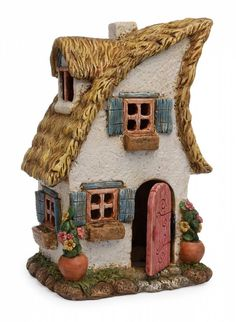 Miniature Fairy Merrifield House Indoor/Outdoor Use Hand painted Made of Resin Wide Tall Deep 2 Story Working Door Clay Fairy House, Gnome House, Fairy Garden Houses, Toad House, Fairy Gardening, Organic Gardening, Clay Houses, Ceramic Houses, Pottery Houses