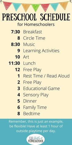 An example homeschool preschool schedule that you can use! Learn more about what subjects to teach in preschool and how to organize your day doing preschool at home. How to homeschool preschool, preschool curriculum, preschool routine, prek schedule, play based preschool, easy preschool at home