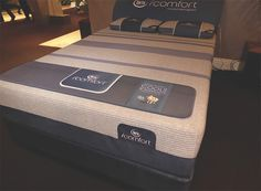 Serta iComfort bed set with new gray and blue striped stretch knit cover