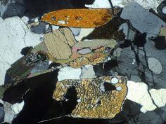 Kyanite in XPL, with some high-birefringence biotite grains Fossils, Grains, Nature, Photos, Inspiration, Rocks, Minerals, Biblical Inspiration, Naturaleza