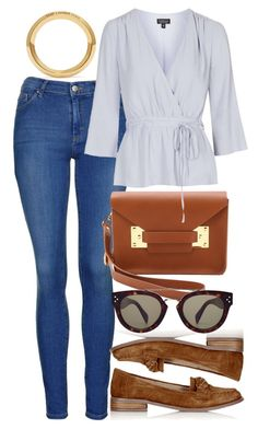 """""""Untitled #4610"""" by style-by-rachel ❤ liked on Polyvore featuring Topshop, Sophie Hulme, CÉLINE, Yves Saint Laurent, women's clothing, women, female, woman, misses and juniors"""