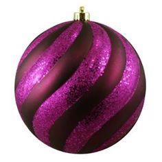 "Purple Passion Glitter Swirl Shatterproof Christmas Ball Ornament 8"" (200mm)"