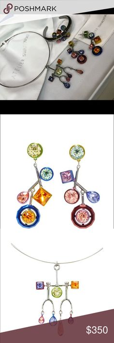 Atelier Swarovski by Peter Pilotto 2 piece set Brass, with mixed fine Swarovski crystals. Statement pieces matching earrings and cuff. Necklace SOLD!  Elegant geometric design. Cuff sells for $250 Earrings sell for $300 Swarovski Jewelry Bracelets