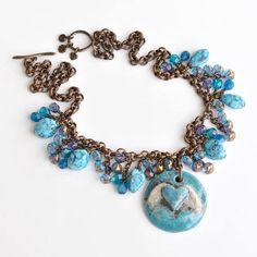 Rustic Angel Wing Blue Heart Ceramic Pendant Necklace, Layered Czech Glass Beaded Fringe, Faux Glass Turquoise, Spirit, Heavenly, Vintage Style Brass Chain, Designer Jewelry, Handmade, #ArtwyrksJewelry, #JeraLunaDesigns