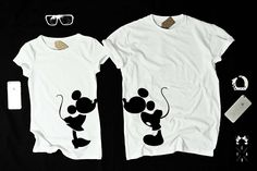 """T-shirts for couple """"Mickey KISS"""" by EnryPRINT on Etsy"""