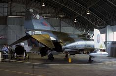 Phantom of 64 Squadron 228 Operational Conversion Unit seen hangared at its home base RAF Coningsby on June 1977 Military Jets, Military Aircraft, Fighter Aircraft, Fighter Jets, Hms Ark Royal, Uk Arms, War Jet, Post War Era, F4 Phantom