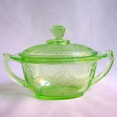 Green Depression Glass Princess Covered Sugar Hocking Glows Vtg. $27.00, via Etsy.