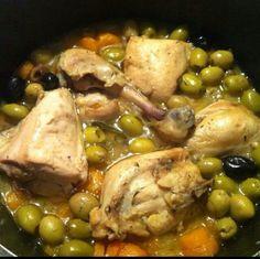 tajine de poulet aux olives vertes♥