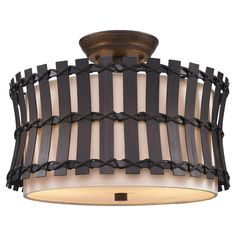 Showcasing natural hand-tied rattan around a linen drum shade, this charming semi-flush mount adds an island-inspired touch to your living or dining room.