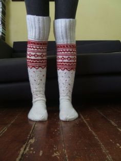 White and Red Long Above the Knee Socks by Legyviel on Etsy, $60.00
