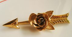 Gold Copper Tone Rose on an Arrow Flower Pin CORO Brooch Vintage Love