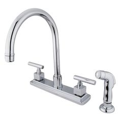 This Rio Double Handle Kitchen Faucet with Matching Finish Plastic Sprayer features an centerset with a non-metallic side sprayer and 360 degree-turn swivel spout. The thin cylindrical handles and cube-shaped escutcheons offers an extraordinary look with its contemporary flair. Fabricated in solid brass for durability and reliance, the faucet is resistant to tarnishing and corrosion.
