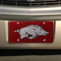 Arkansas Razorbacks Glitter License Plate - Cardinal
