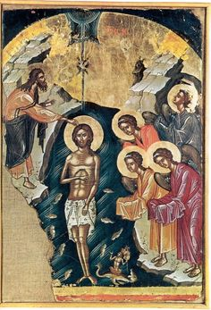 In one of his homilies, my beloved brethren and fellow lovers of feasts, Saint Proclus, the Patriarch of Constantinople and disciple of Sai. Roman Church, Religion, John The Baptist, Orthodox Icons, Epiphany, Christian Art, Jesus Christ, Christianity, Human Figures