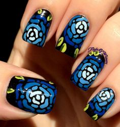 Blue Mosaic Flowers
