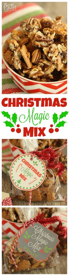 Christmas Magic Mix - All the flavors of classic Magic Cookie Bars in snack mix form is perfect for Christmas parties and giving as a gift.