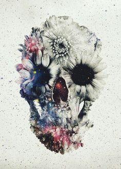 Tete de mort fleur