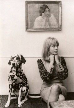 Marianne Faithfull with her dalmation, 1964