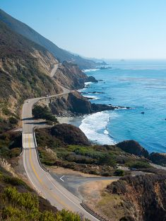 The Pacific Coast Highway winding along the California coast south of Big Sur