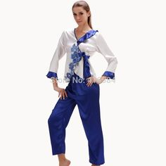 Summer/Autumn New Pijamas Women Satin Embroidery Cadigans and Pants Blue White Porcelain Women's Underwear Chinese Style