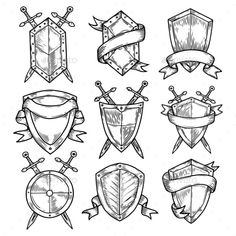 Set of isolated sketches of empty or blank round shields with ribbons and swords. Royal or knight badges, vintage or retro, old or medieval signs. Insurance and defense insignia, heraldry theme Simbols Tattoo, Sword Tattoo, Armor Tattoo, Knight Tattoo, Crest Tattoo, Shield Drawing, Medieval Tattoo, Knight Shield, Family Shield