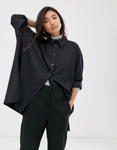 Buy Weekday checked oversized shirt in navy at ASOS. With free delivery and return options (Ts&Cs apply), online shopping has never been so easy. Get the latest trends with ASOS now. Oversized Shirt, Everyday Outfits, Must Haves, Rain Jacket, Windbreaker, Asos, Raincoat, Normcore, Navy