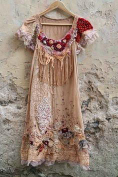 the elf maiden--soft romantic bohemian influenced dress or tunic, hand embroidered and beaded, wearable art