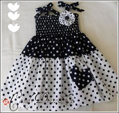 Navy blue and white polka-dot dress for little girls-Size 3T-4T toddlers - for baby girls - photo prop