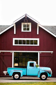 Barn..Everything about this pic I love. Love the barn. Love the truck. Reminds me of my son Caleb.