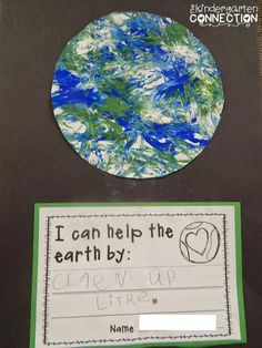 FREE Earth Day project and writing template. Marble Painting Fun!