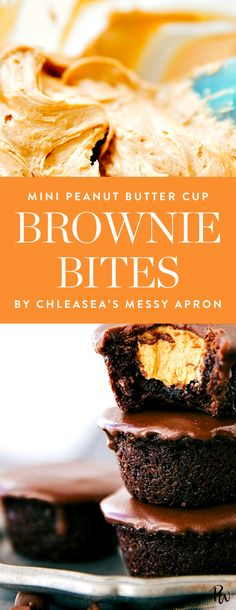 Get the recipe for these amazing mini peanut butter cup brownie bites by Chelsea's messy apron and more amazing mini Thanksgiving dessert recipes here. #thanksgivingdesserts #brownies #brownierecipes #browniebites #easydesserts #dessertrecipes