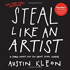"Austin Kleon's talk ""Steal Like An Artist"" is a creative manifesto based on 10 things he wish he'd heard when he was starting out. Austin is a writer and art. Mind Hack, Good Books, Books To Read, Big Books, Austin Kleon, Life Changing Books, P90x, Inspirational Books, Challenge"