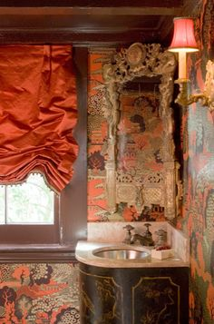 Chinoiserie Style wallpaper In a powder room