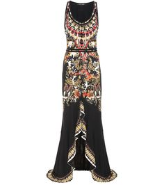 Roberto Cavalli - Printed dress - The Cavalli girl, with her penchant for flamboyance, will be pleased this season – the designer has combined the brand's signature emphasis on intricate prints with fluid movement for truly knockout silhouettes. This floor-length dress, with its embroidery-inspired print, velvet trim and draping, slit skirt is set to be a fan favourite. - @ www.mytheresa.com