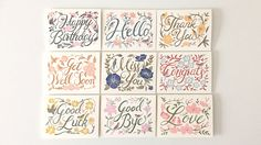 illustration, greeting card, blank card, hand lettered, hand lettering, floral, event card, floral moments