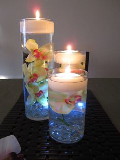 Green  Pink Orchid Floating Candle Centerpiece