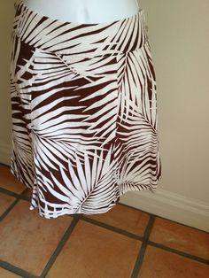 Brown Zebra Safari Skirt 4 Small GAP Spring Summer Flare Lined Career Casual B6 #GAP #FullSkirt