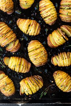 These vegan hasselback potatoes basted in garlicky and herby oil make a fantastic, naturally gluten-free and easy to make side dish.