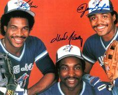 Toronto Blue Jays outfield: George Bell, Lloyd Moseby, and Jesse Barfield. Baseball Boys, Baseball Players, Baseball Stuff, Baseball Cards, Blue Jay Way, Go Blue, Shawn Green, Baseball Toronto, Sports
